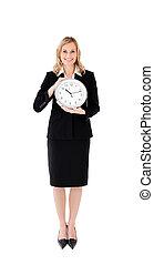 επιχειρηματίαs γυναίκα , ευχαριστημένος , κράτημα , ρολόι