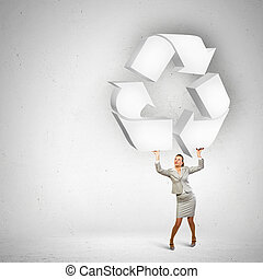 επιχειρηματίαs γυναίκα , και , ανακυκλώνω , σήμα