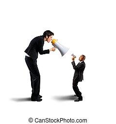 επιχειρηματίαs γυναίκα , μεγάφωνο , διαμέσου , κραυγές