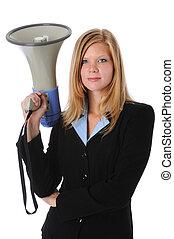 επιχειρηματίαs γυναίκα , μεγάφωνο