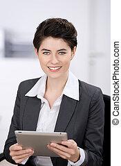 επιχειρηματίαs γυναίκα , με , ένα , tablet-pc