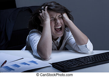 επιχειρηματίαs γυναίκα , πρόβλημα , τρομερός