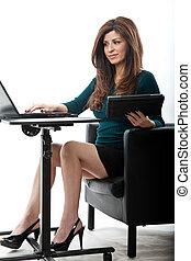 επιχειρηματίαs γυναίκα , σαράντα , όμορφη , αυτήν , ισπανικός