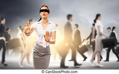 επιχειρηματίαs γυναίκα , σύνολο , στα τυφλά , άνθρωποι
