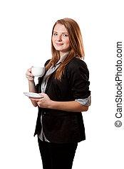 επιχειρηματίαs γυναίκα , φλιτζάνι του καφέ