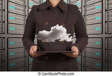 επιχειρηματίαs γυναίκα , χέρι , δούλεμα αναμμένος , μοντέρνος τεχνική ορολογία , και , σύνεφο , δίκτυο , γενική ιδέα