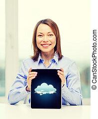 επιχειρηματίαs γυναίκα , χαμογελαστά , ηλεκτρονικός υπολογιστής , δέλτος pc