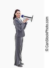 επιχειρηματίαs γυναίκα , χαμογελαστά , κατατομή , μεγάφωνο