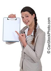 επιχειρηματίαs γυναίκα , clipboard , κενό