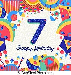 επτά , χαιρετισμός , αριθμόs , γενέθλια , 7 , έτος , πάρτυ , κάρτα
