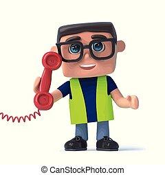 εργάτης , αναλαμβάνω ευθύνη , τηλέφωνο , υγεία , ασφάλεια , 3d