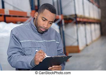 εργάτης , γράψιμο , έρευνα , αποθήκη