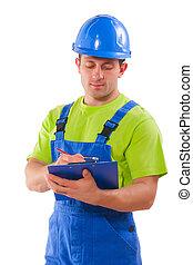 εργάτης , γράψιμο , μέσα , clipboard , απομονωμένος