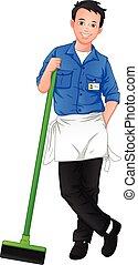 εργάτης , εργαλείο , καθάρισμα , διατυπώνω , κράτημα