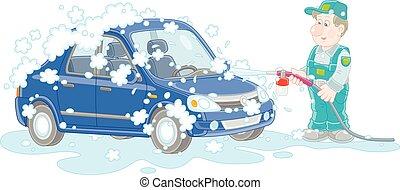 εργάτης , θέση , υπηρεσία , αυτοκίνητο , πλύση