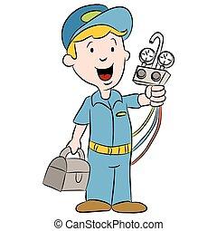 εργάτης κατάλληλος για διάφορες εργασίες , γελοιογραφία , διατήρηση