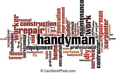 εργάτης κατάλληλος για διάφορες εργασίες , λέξη , σύνεφο