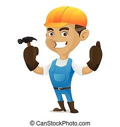 εργάτης κατάλληλος για διάφορες εργασίες , σφυρί , κράτημα