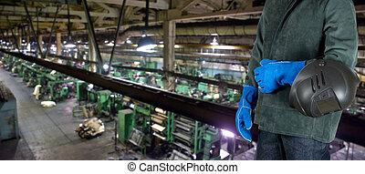 εργάτης , μεταλοκολλητής , σε , εργοστάσιο