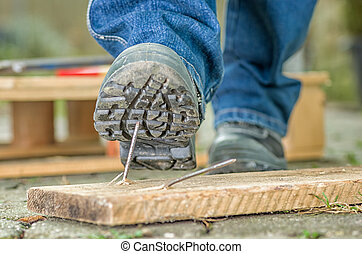εργάτης , με , ασφάλεια αρβύλα , βήματα , επάνω , ένα ,...