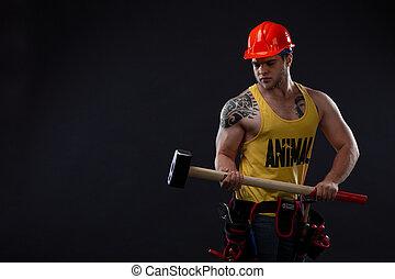 εργάτης , σφυρί , κτηνώδης , μυώδης , άντραs