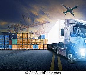 εργαζόμενος , άντραs , και , δοχείο , φορτηγό , μέσα , λιμάνι , και , φορτίο , εμπορεύματα αεροπλάνον , μέσα , μεταφορά , και , import-export, εμπορικός , logistic , επιχείρηση , βιομηχανία