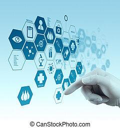 εργαζόμενος , γιατρός , μοντέρνος , χέρι , φάρμακο , ηλεκτρονικός υπολογιστής , επεμβαίνω