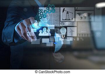 εργαζόμενος , διπλός , μοντέρνος , επιχειρηματίας , μηχανικόs , τεχνολογία , έκθεση