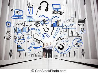 εργαζόμενος , μέσα , ένα , κέντρο δεδομένων , ακάθιστος