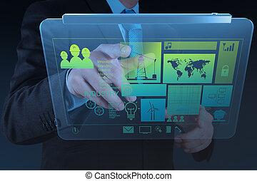 εργαζόμενος , μοντέρνος , χέρι , επιχειρηματίας , τεχνολογία , μηχανικόs