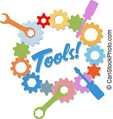 εργαλεία , για , ειδήσεις τεχνική ορολογία , σχεδιάζω