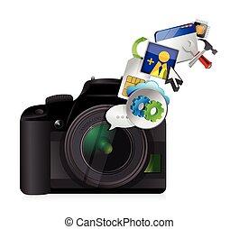 εργαλεία , φωτογραφηκή μηχανή , σχεδιάζω , εικόνα , δέσιμο