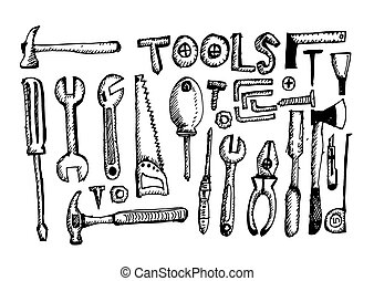 εργαλείο , θέτω , τραβώ , χέρι