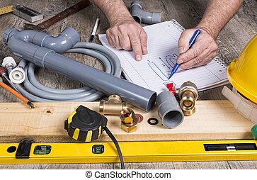 εργασία σωλήνων , διαφορετικός , εργαλεία , do-it-yourself