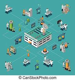 εργαστήριο,  isometric, έρευνα,  flowchart