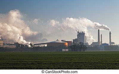 εργοστάσιο , αέραs , καπνός , ερχομός , θημωνιά , ρύπανση