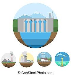 εργοστάσιο , δύναμη , απεικόνιση , γενεά , ενέργεια , εικόνα , κύμα , μικροβιοφορέας , άνθρωπος , ηλιακός , εναλλακτικός , ανακαινίσιμος