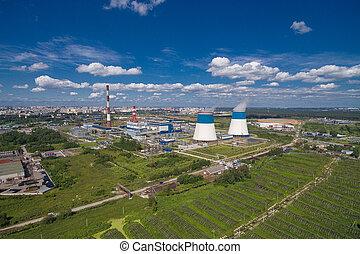 εργοστάσιο , εναέρια , δύναμη , βλέπω
