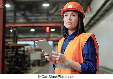 εργοστάσιο , μηχανικόs , διαδικασία , γυναίκα