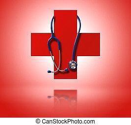 ερυθρός σταυρός , επειδή , ένα , σύμβολο , από , ιατρικός κατάσταση υγείας , με , στηθοσκόπιο