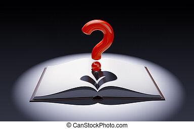 ερώτηση , κηλίδα , εικόνα , σημαδεύω , βιβλίο , light., ανοίγω , 3d
