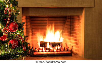 εστία , δέντρο , φόντο , καύση , xριστούγεννα