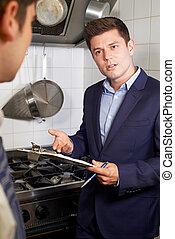 εστιατόριο , αρχιμάγειρας , υγεία , επιθεωρητής , συνάντηση , κουζίνα