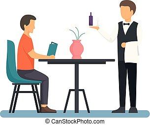 εστιατόριο , γκαρσόνι , διαμέρισμα , εικόνα , ρυθμός , άντραs