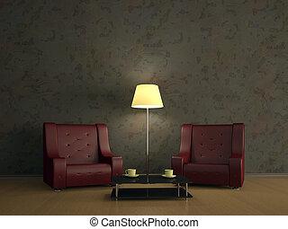 εσωτερικός , έδρα , δωμάτιο , δυο