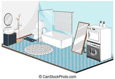 εσωτερικός , έπιπλα , μπλε , τουαλέτα , μπουγάδα , θέμα