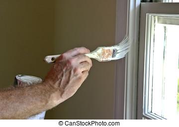 εσωτερικός , παράθυρο , ζωγραφική , κορνίζα