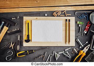 εσύ ο ίδιος , εργαλεία , αυτό , σημειωματάριο , διάφορων...