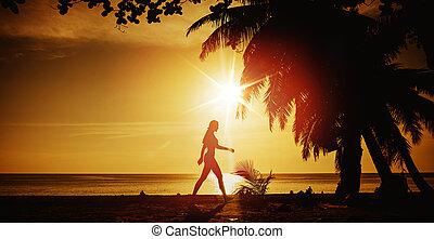 ευέλικτος , εκπαίδευση , γυναίκα , παραλία