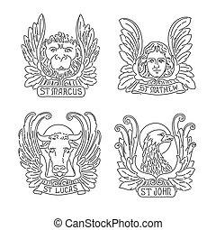 ευαγγελικός κήρυκας , άγγελος , eagle., matthew, σημαδεύω , symbols:, λιοντάρι , luke , τέσσερα , john., ταύρος , γραμμή